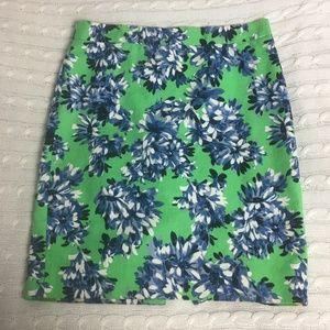 J. Crew Pencil Skirt Green with Blue Flowers
